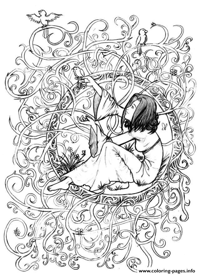 Zen Anti Stress To Print Princess In Leaves And Branches  coloring pages