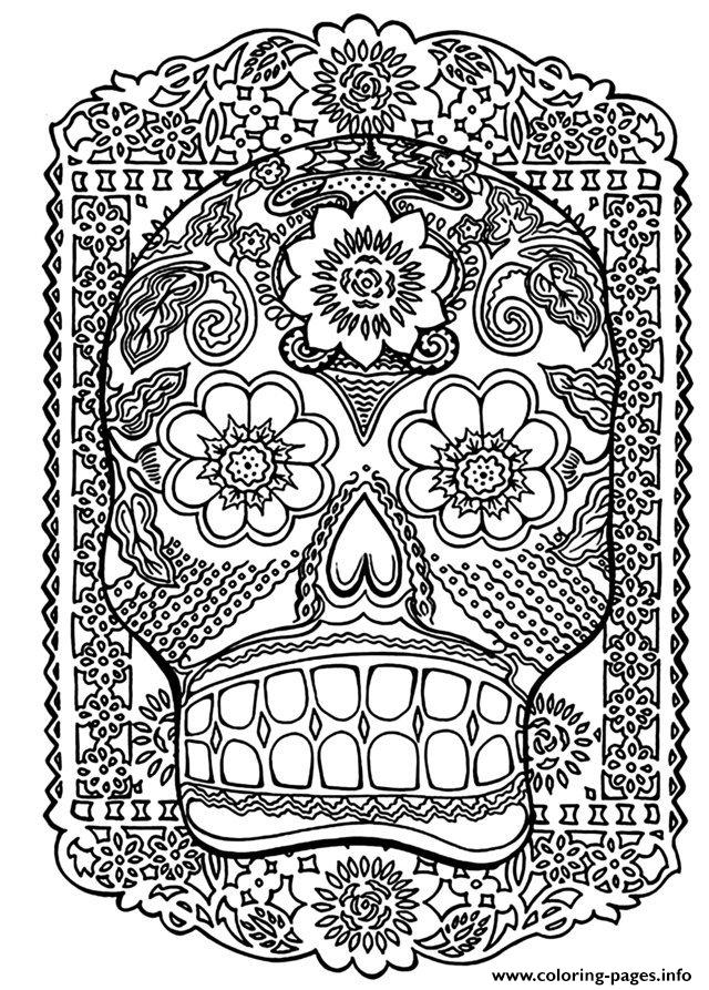 Adult Zen Anti Stress Skull Head Antistress  coloring pages