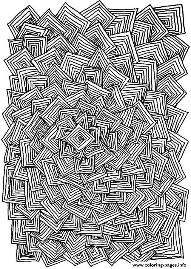 Zen Anti Stress Adult Relax Squares Coloring Pages Printable
