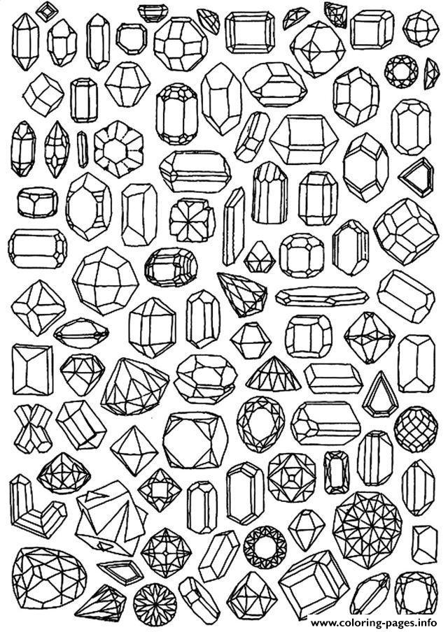 Zen Anti Stress To Print Diamonds Coloring Pages Printable