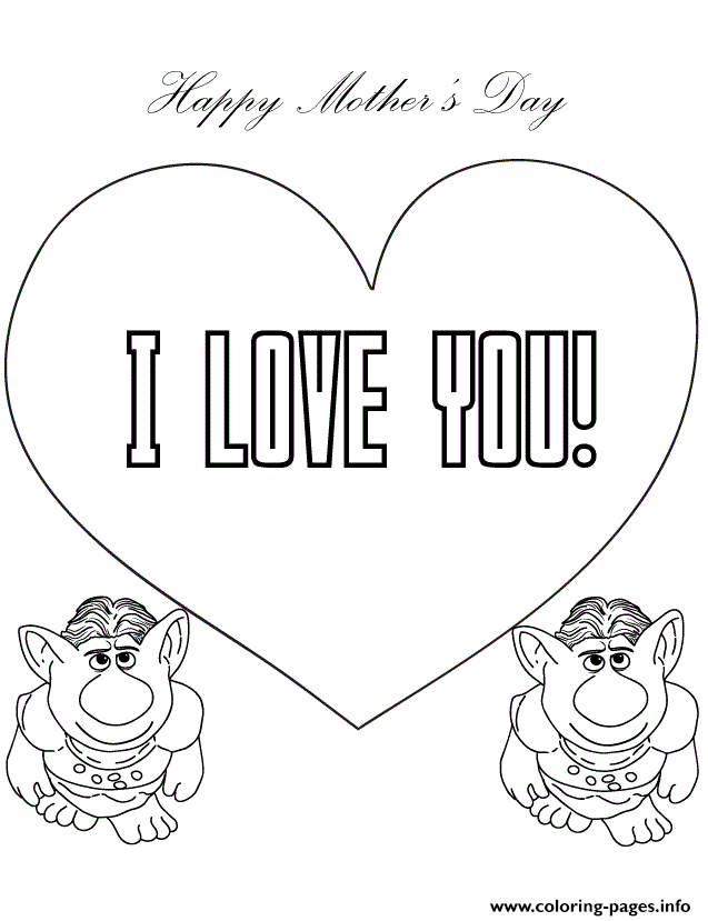 Trolls From Frozen Movie Say I Love You coloring pages