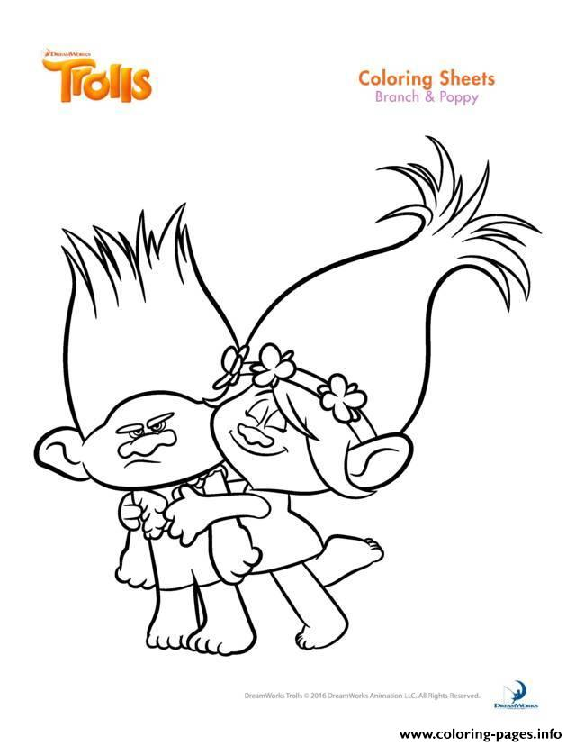branch and poppy coloring pages branch and poppy trolls coloring pages printable