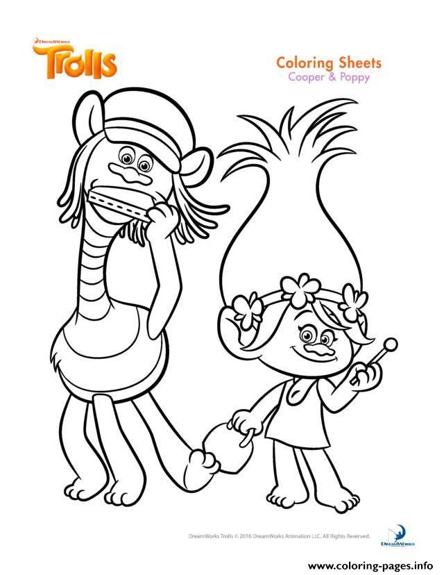 Cooper and poppy trolls coloring pages printable for Trolls coloring pages poppy