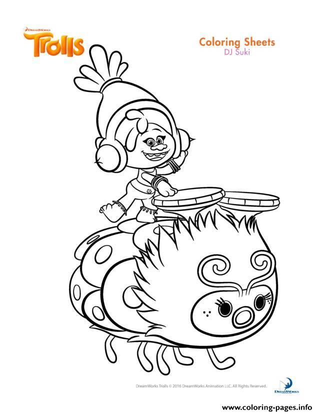 Dj Suki Trolls coloring pages