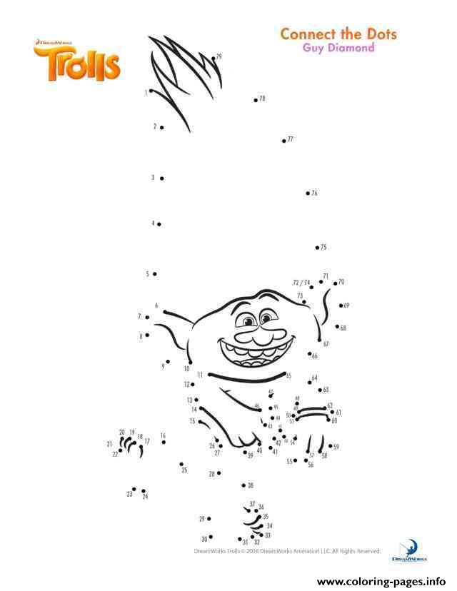 guy diamond connect the dots trolls coloring pages printable
