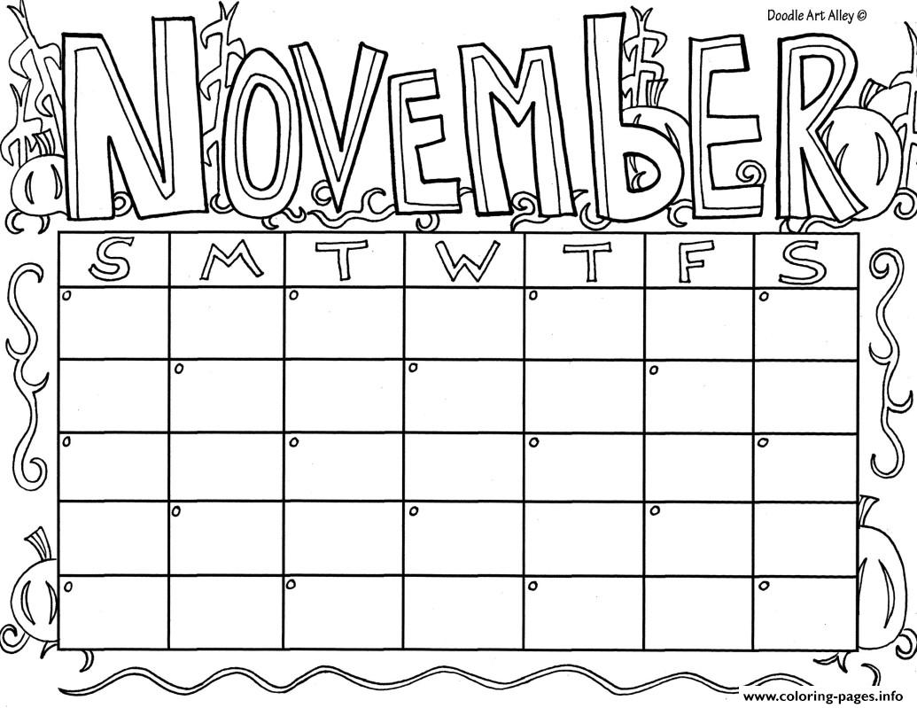 November calendar coloring pages printable for Calendar coloring page