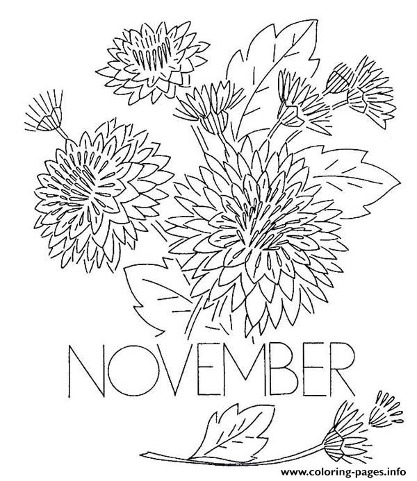 Chrysanthemum flower coloring pages coloring page for November coloring pages free