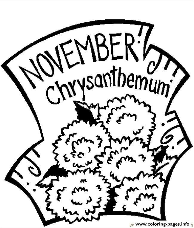 November Chrysanthemum 2 coloring pages