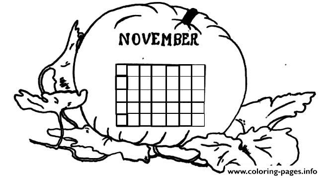 November Calendar 2 Coloring Pages Printable