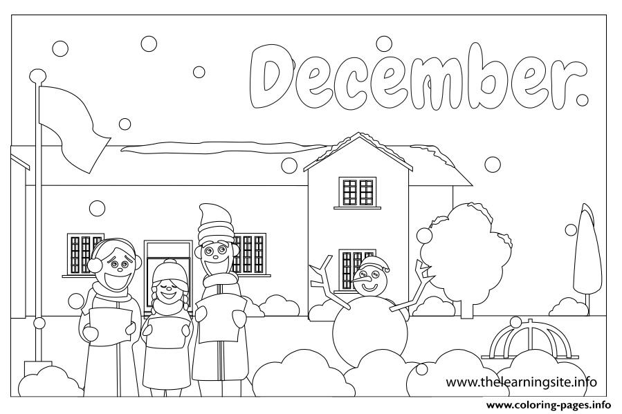 Outline Months December Coloring Pages Printable