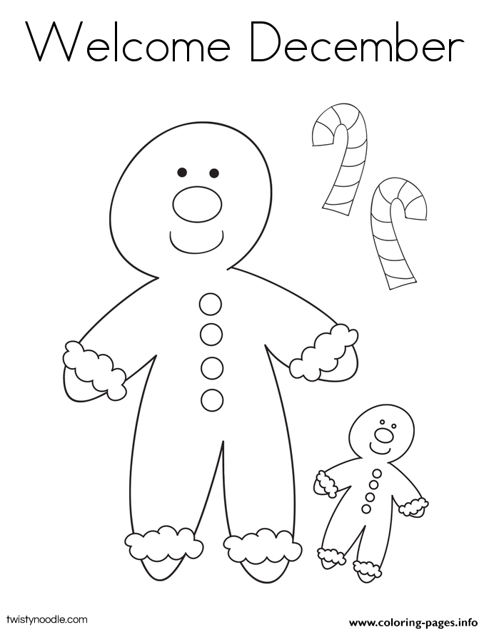 Welcome December 2 Coloring Pages Printable