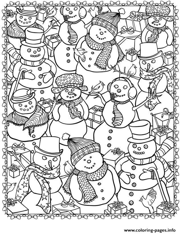 adult christmas snowman colouring print adult christmas snowman coloring pages - Challenging Dragon Coloring Pages