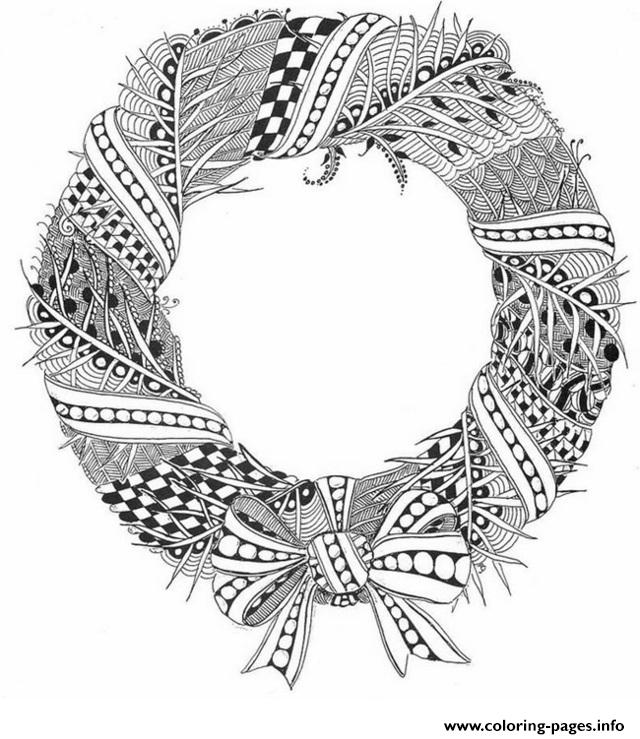 Christmas Adult Wreath Coloring Pages Printable