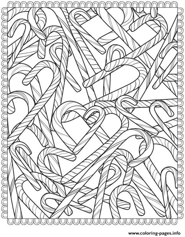 Candy Canes Christmas Adult coloring pages