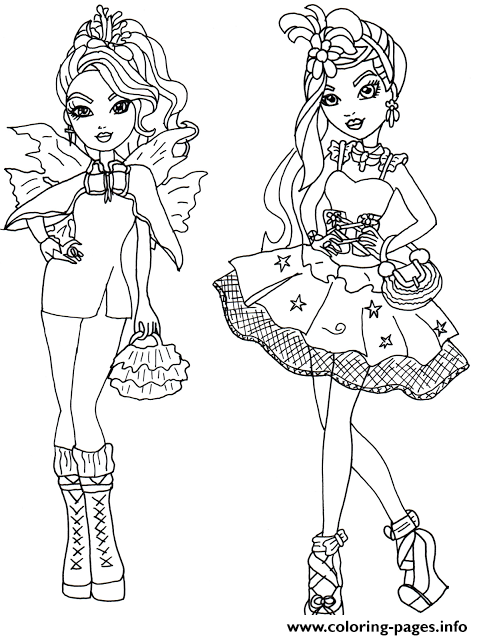 Faybelle Thorn And Duchess Swan Ever After High Coloring Pages Print Download