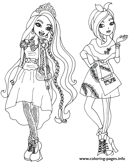 Holly and Poppy O Hair Ever After High Coloring pages Printable
