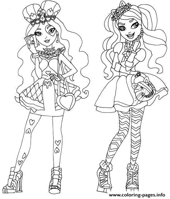 Lizzie Hearts And Kitty Cheshire Ever After High coloring pages