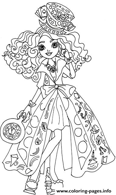 Madeline hatter way too wonderland ever after high for Madeline coloring pages printable