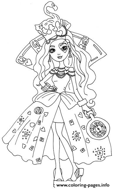 Lizzie Hearts Way Too Wonderland Ever After High Coloring Pages Print Download