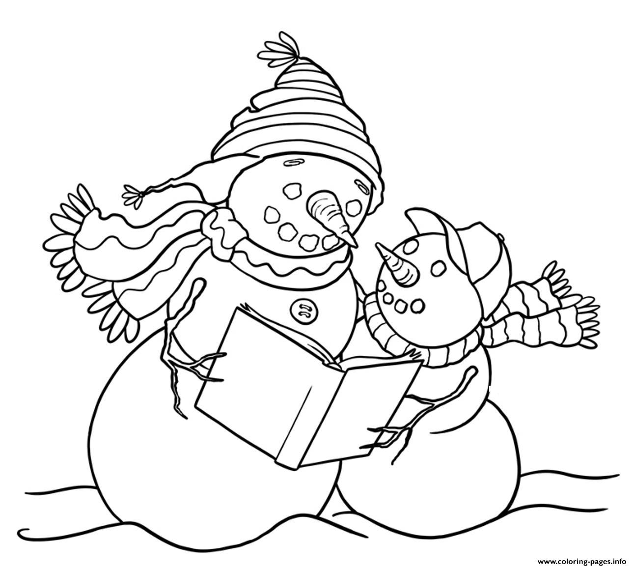 Reading Snowman S7441 Coloring Pages Printable