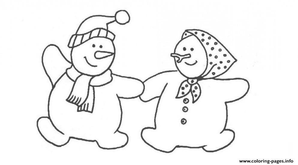 Couple Snowman S For Kids 09d6 coloring pages