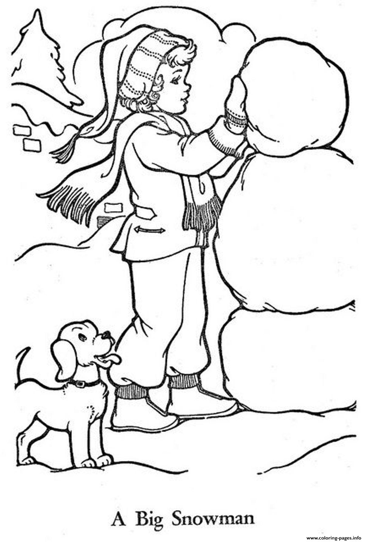 Little Girl Build A Snowman Sff94 Coloring Pages Printable