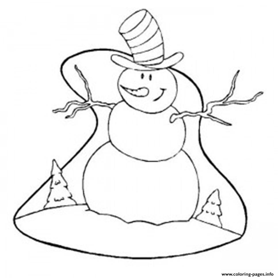 Christmas Winter Snowman With Big Hat11b2 coloring pages