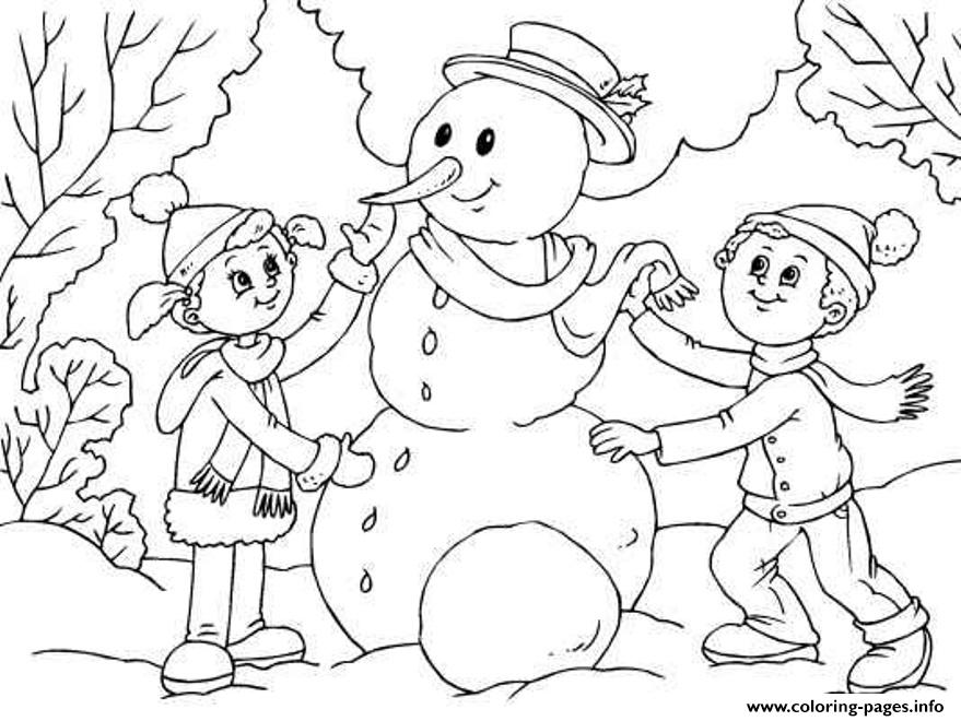 making snowman for kids d05b coloring pages printable