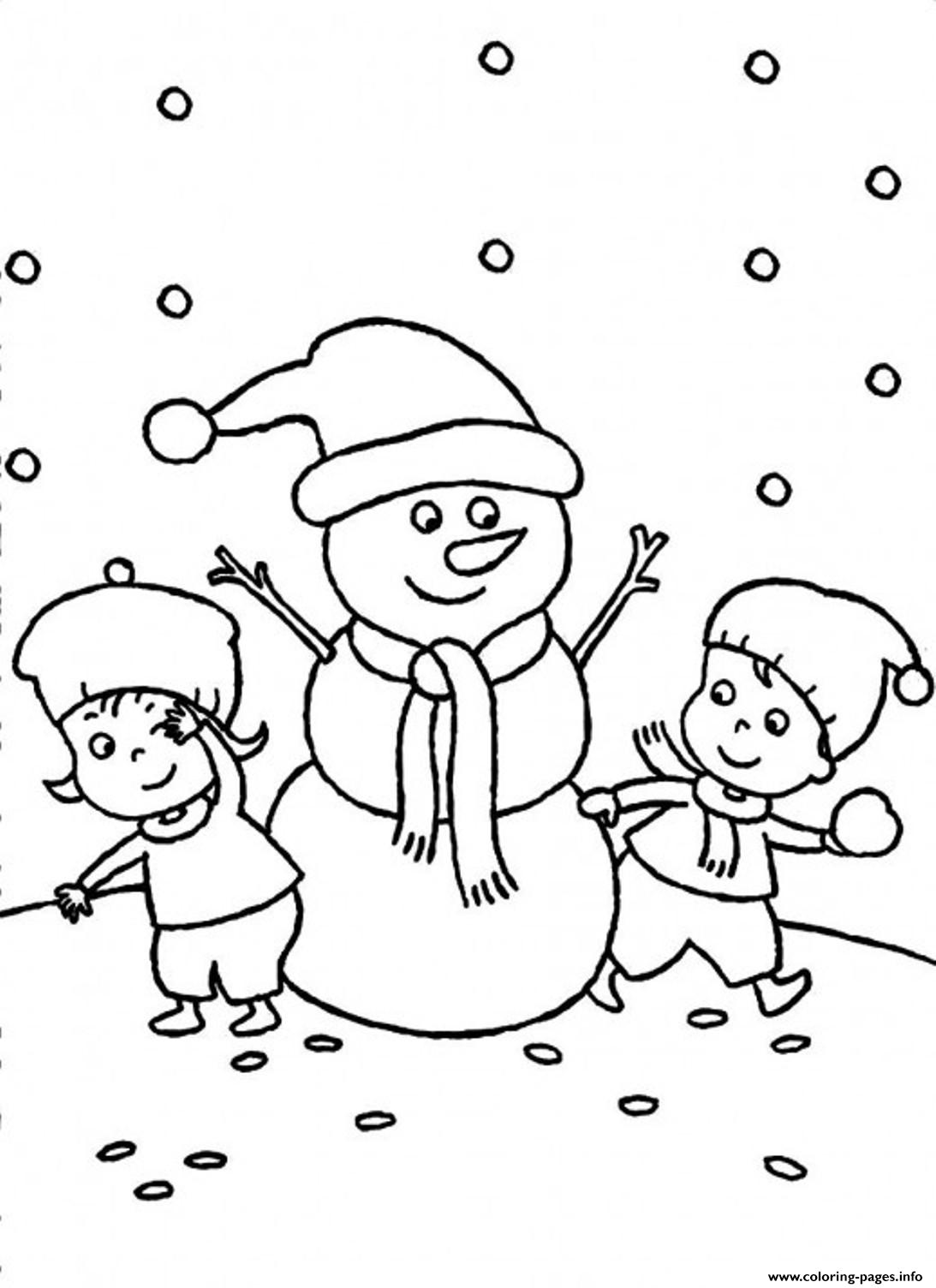 Two Kids Making Snowman Together S Winter 9dec Coloring Pages Printable