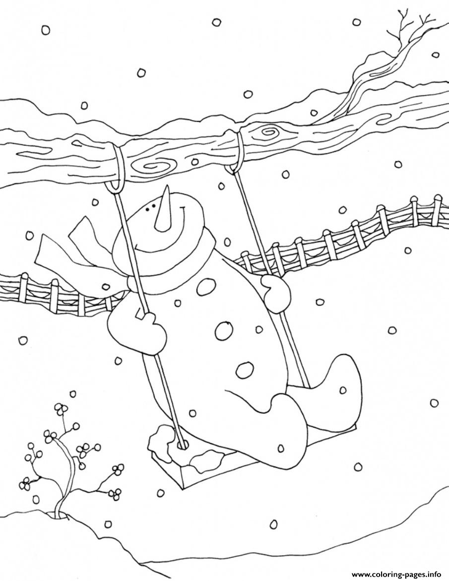 Swing Snowman S Kids C0f4 coloring pages