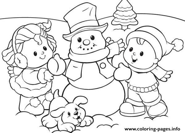 Preschool S Winter Snowman And Kids 5d0f coloring pages