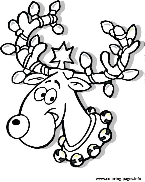 Printable Christmas Reindeer In Lights Coloring Pages ...
