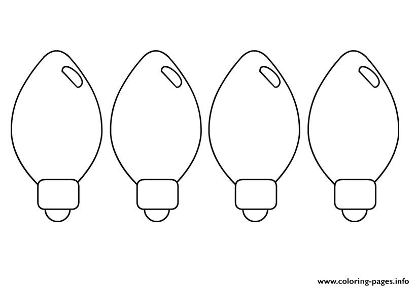 christmas tree light bulb coloring pages | Christmas Tree Lights Coloring Pages Printable