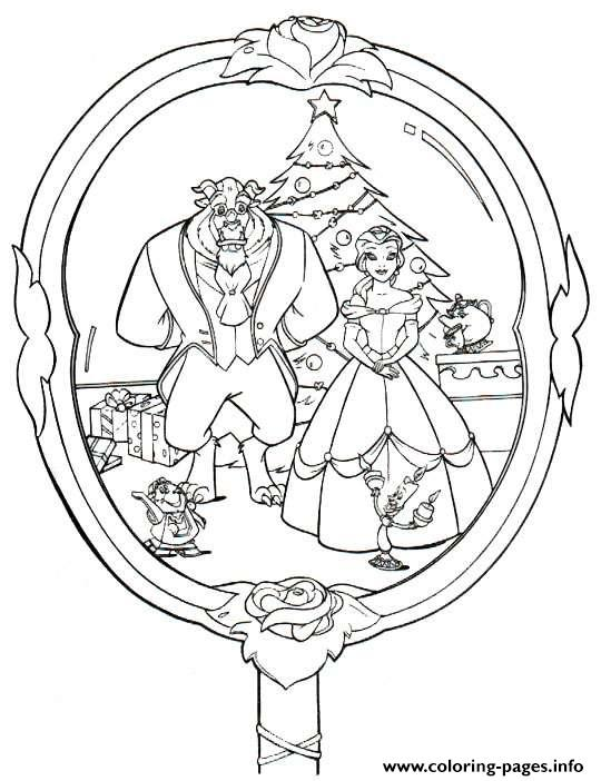 Beauty And The Beast Disney Christmas 4 Coloring Pages