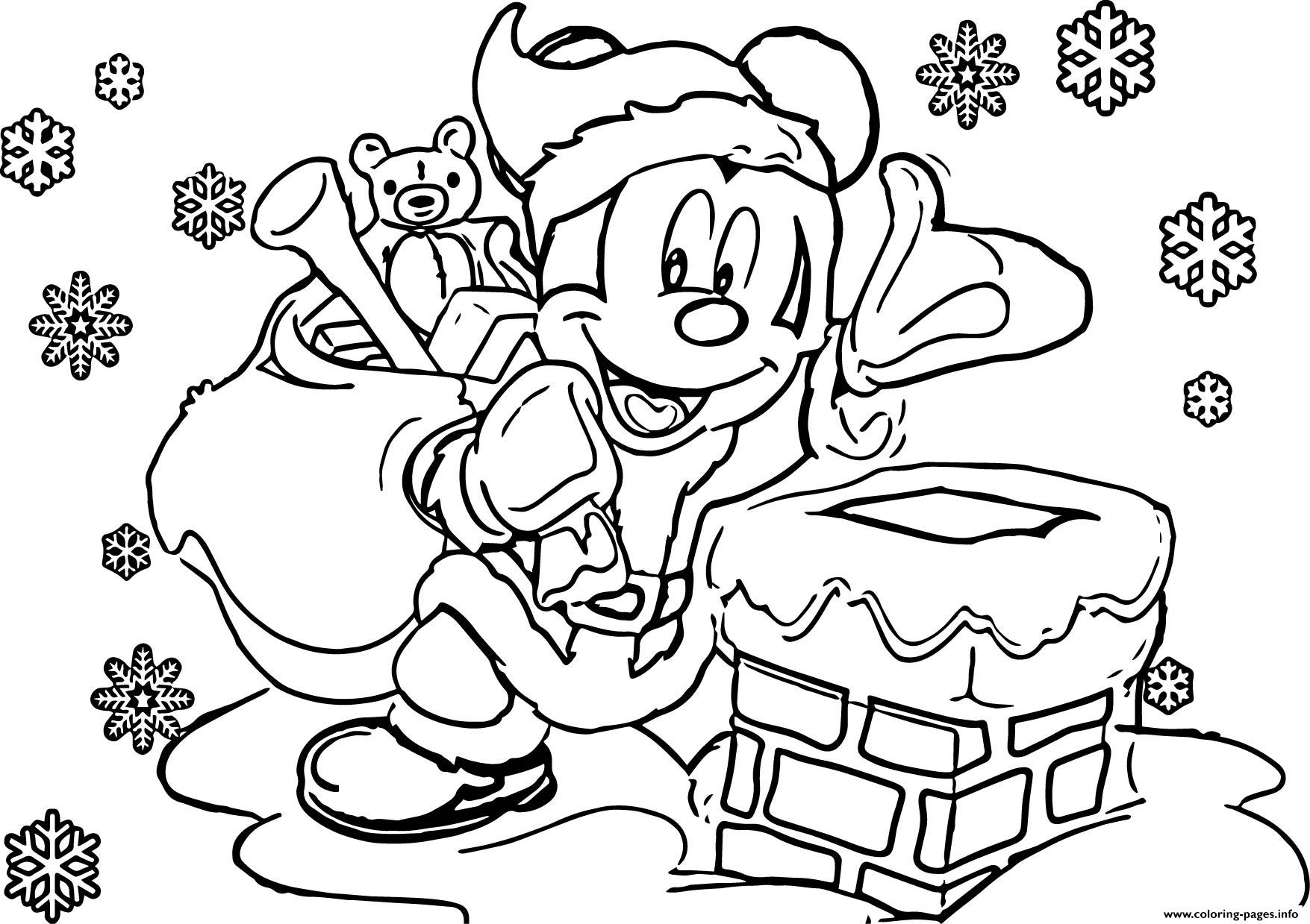 Disney Christmas Color Coloring Pages Printable