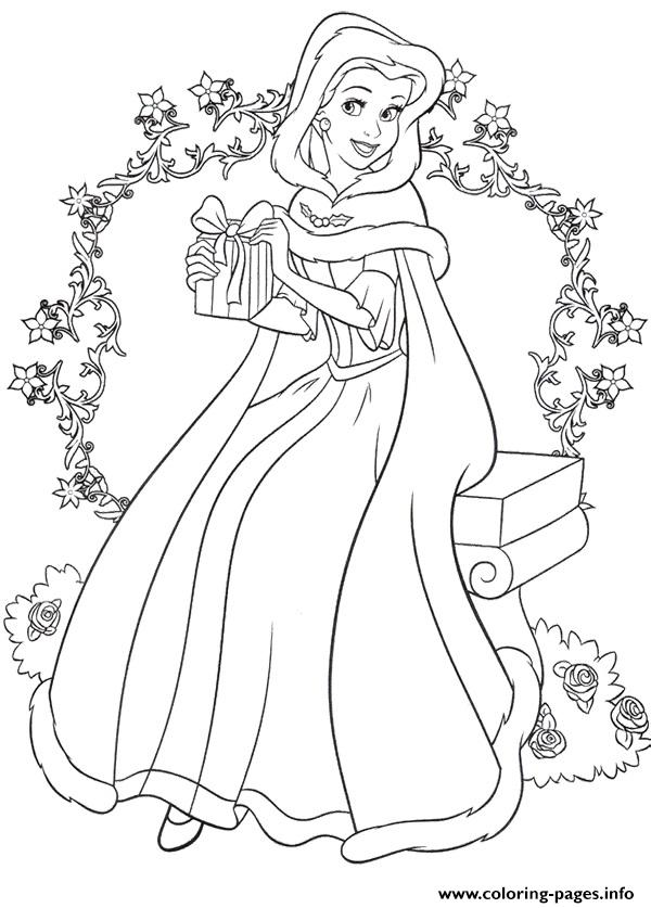 Princess Belle Christmas Coloring Pages Printable