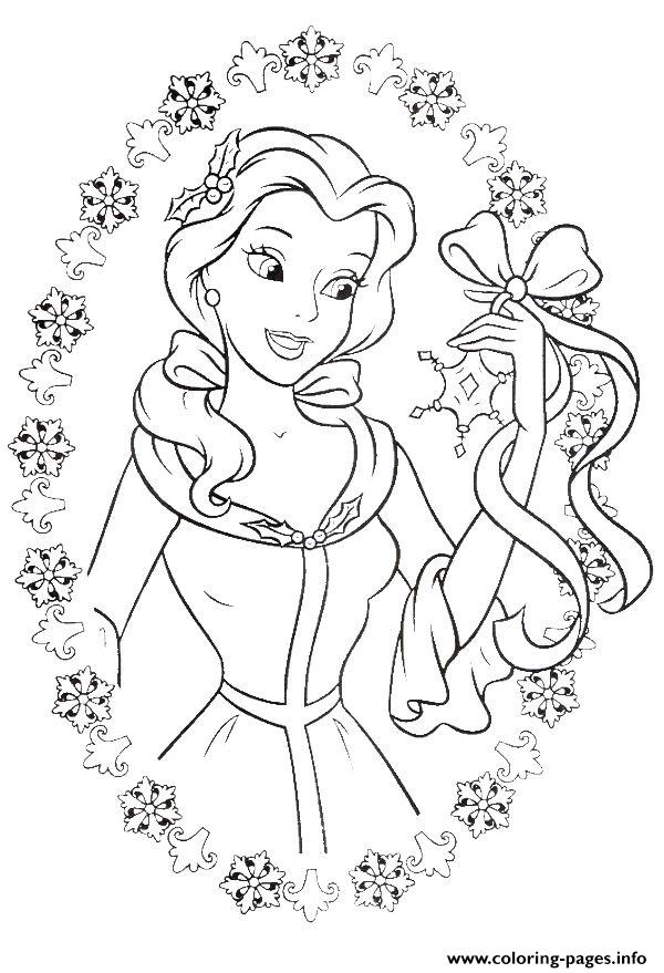 Princess Belle Love To Get Gifts In Christmas coloring pages