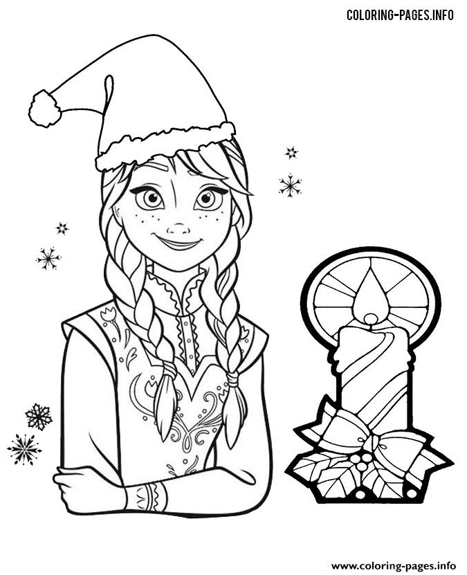 Princess Anna Frozen Christmas Coloring Pages Printable