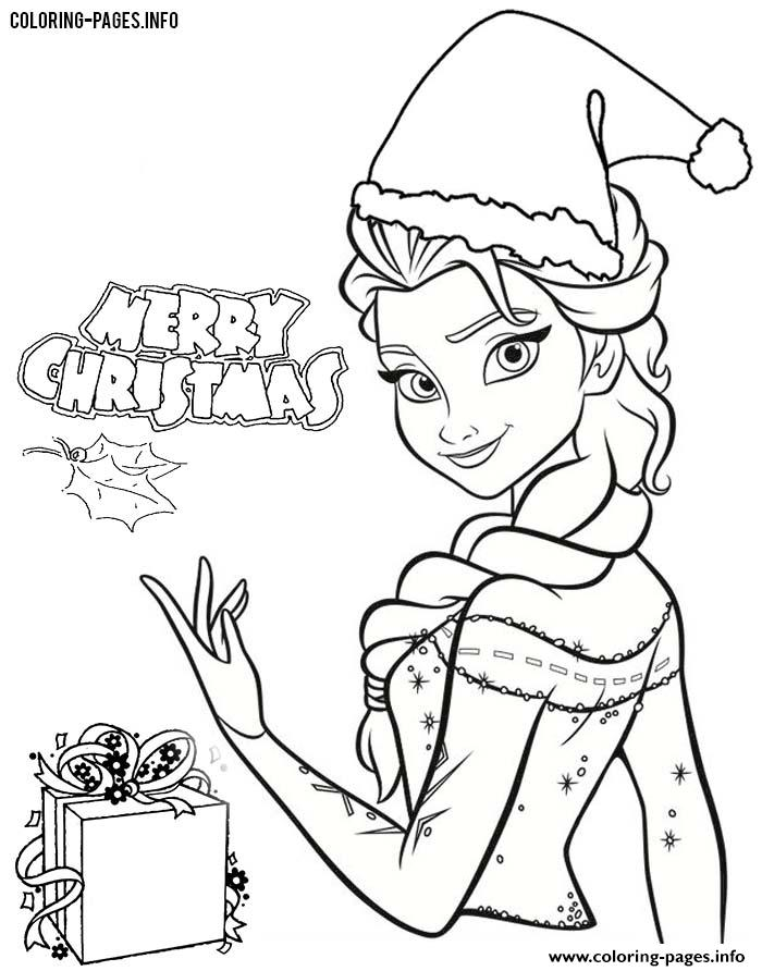 Frozen Elsa Disney Princess Christmas Coloring Pages Printable