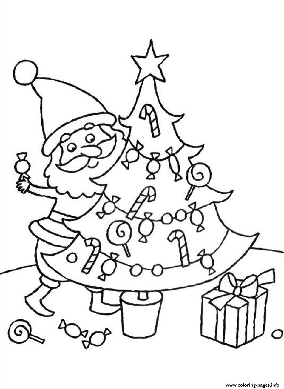 Santa Decorating Christmas Tree Free S Christmas 6a80 coloring pages
