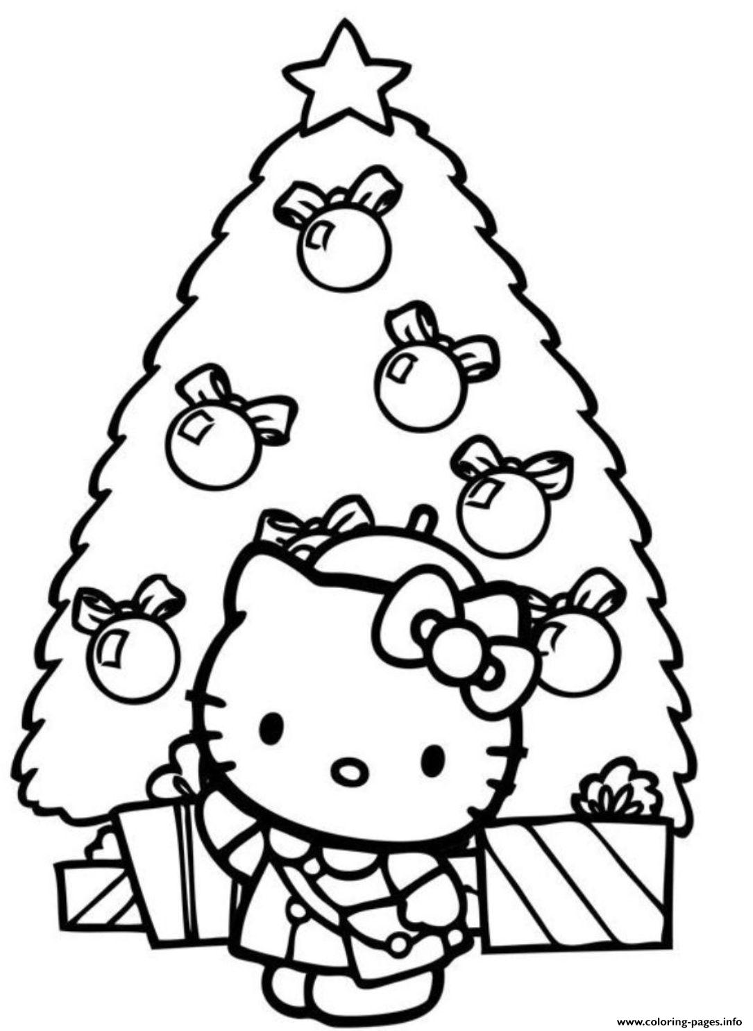 Christmas Tree Hello Kitty coloring pages
