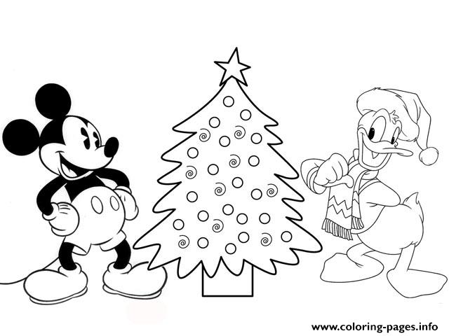 Donald And Mickey By Christmas Tree Disney E277 coloring pages