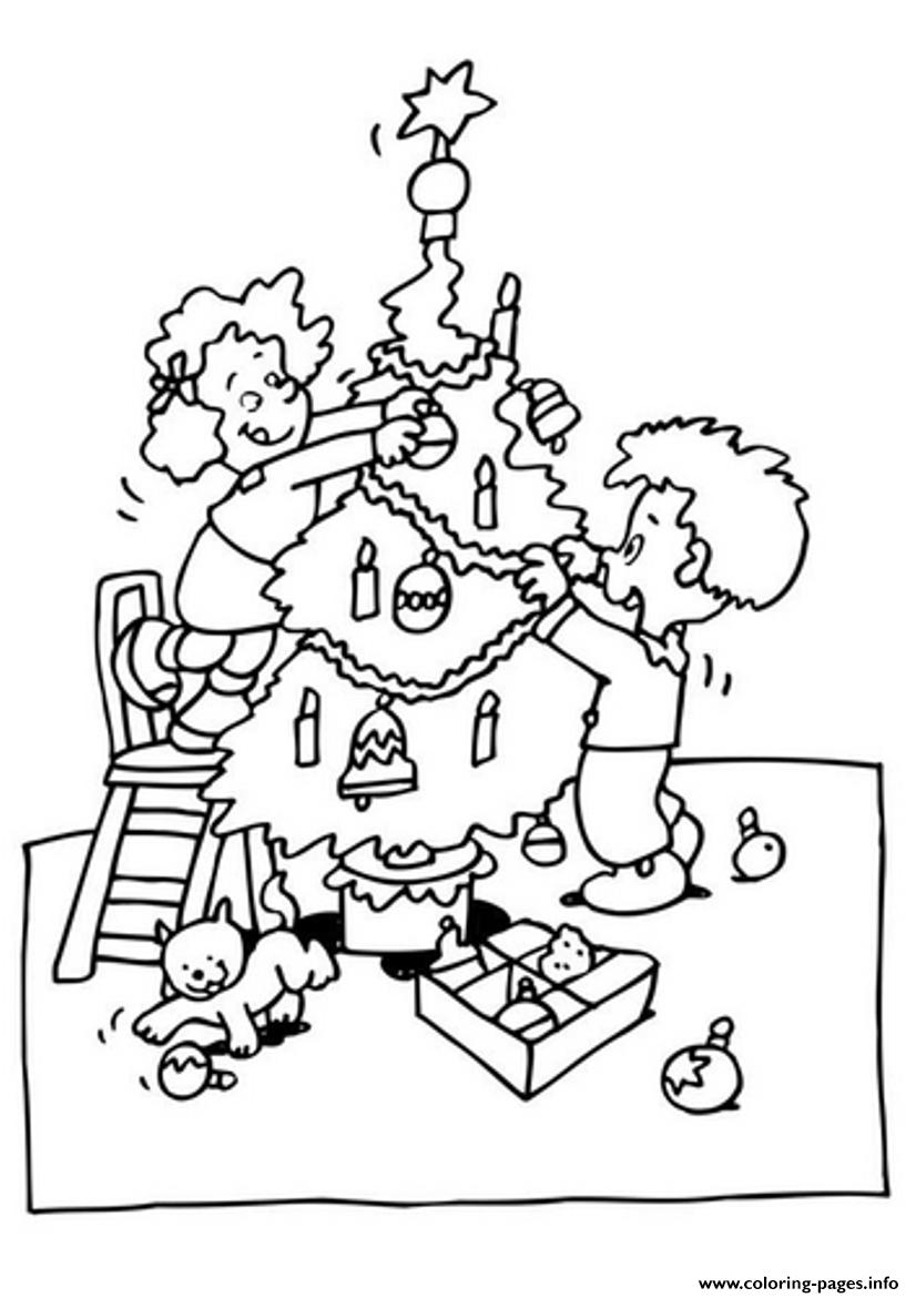 Kids Decorating Christmas Tree 53d1 Coloring Pages Printable