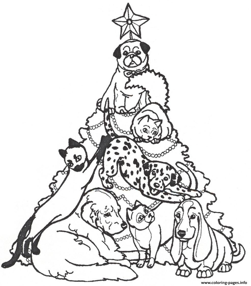 christmas tree and dogs23ef coloring pages printable