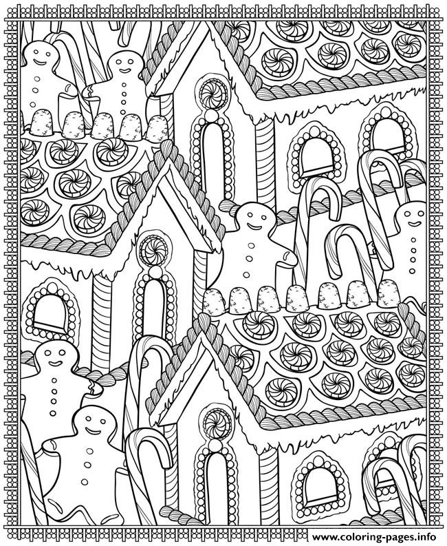 adult christmas house candy Coloring pages Printable