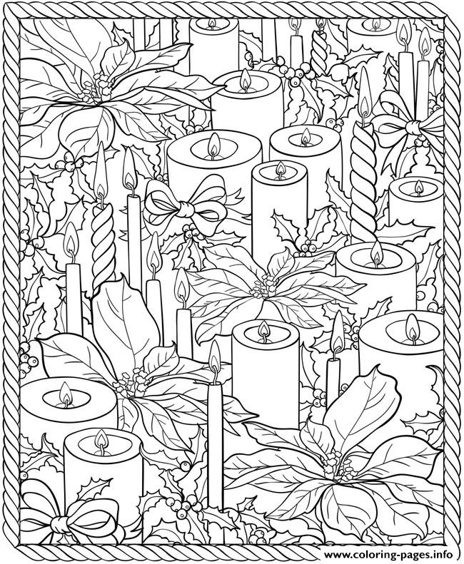 Adult Christmas Candles Coloring Pages Printable