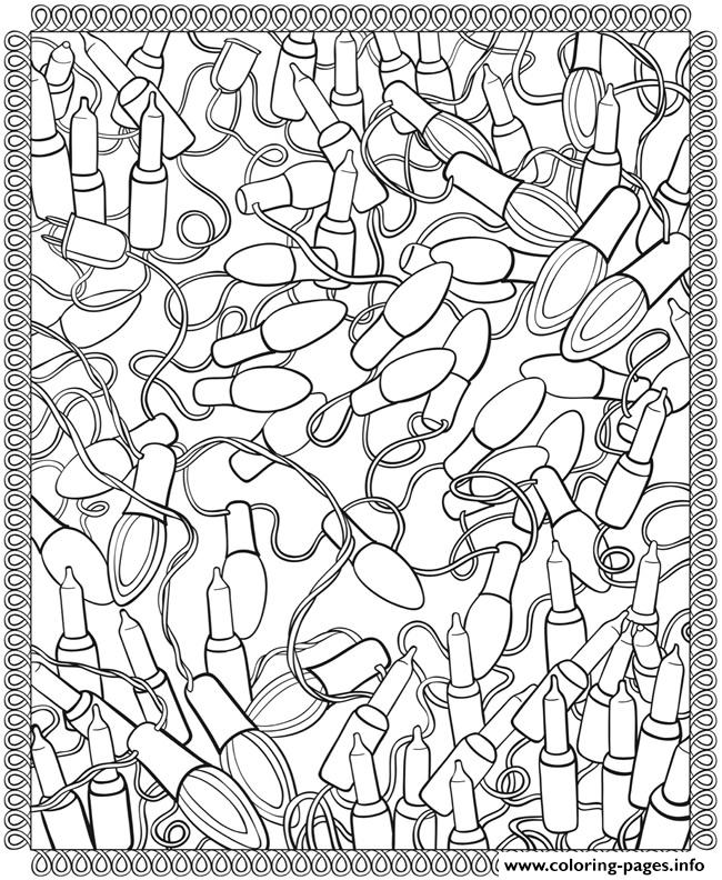 Adult Christmas Lights Coloring Pages Printable