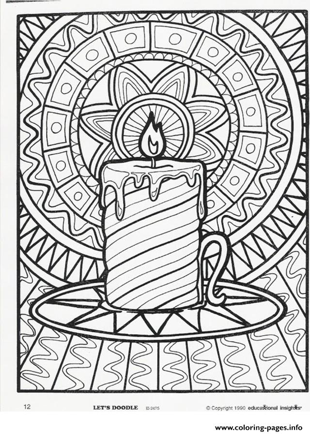 christmas adults candle coloring pages