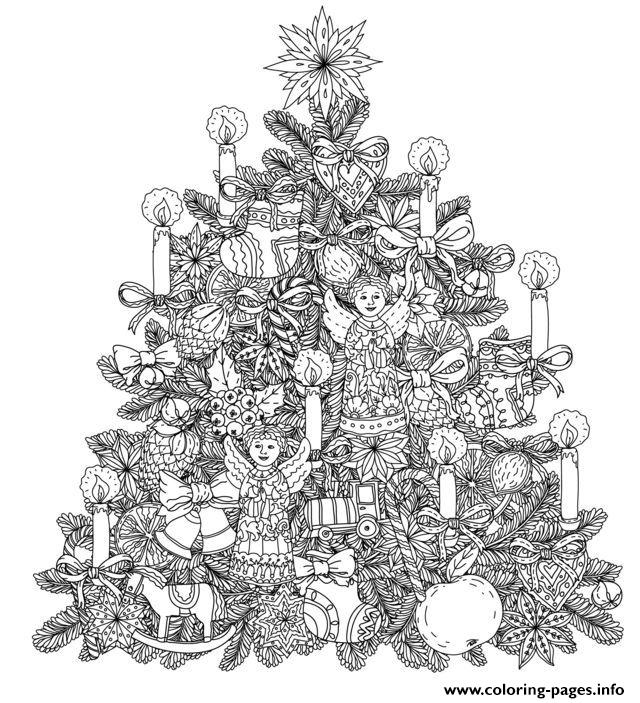 Adult Christmas Tree With Ornaments By Mashabr Coloring Pages Print Download