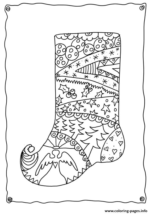 Christmas Adults Sotcking  coloring pages